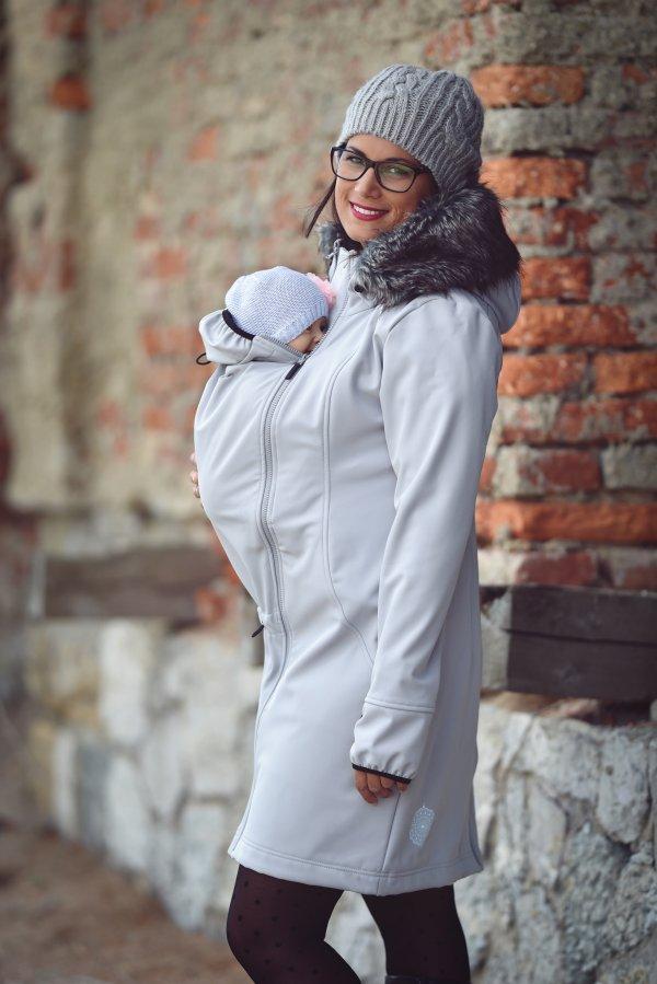 Angel Wings softshellový kabát s kožíškem šedý - S 58861b1517