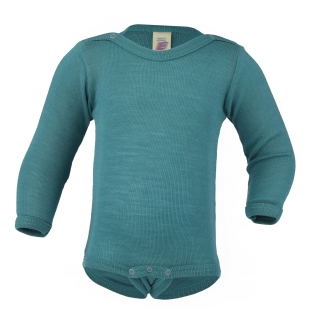 Merino/hedvábí body Engel - ice blue - 74/80